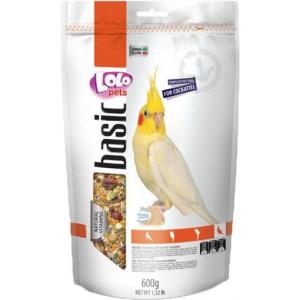 Повнораціонний корм для папуг-німф Lolopets Doypack Basic фруктовий 600 г (LO-70224)